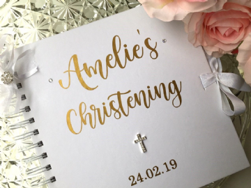 Christening Guest Book  - Gold
